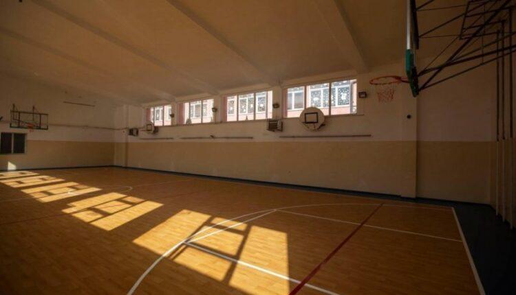 The sports hall in the 'Zenel Hajdini' school in the