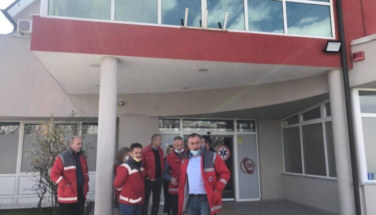 MFMC workers in Pristina protest after the physical attack on